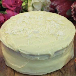 white chocolate ganche cake